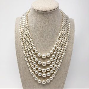 Stunning Vintage Multi Strand Faux Pearl Necklace